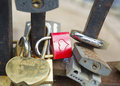 Locks on bridge of lovers many padlocks wich hang railings Royalty Free Stock Image