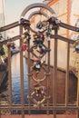 Locks on bridge in Prague to symbolize love forever
