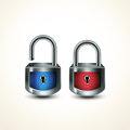 Locks closed unclosed blue and red protection concept Royalty Free Stock Photography