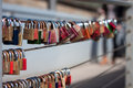 Locks love on a bridge in muenster germany Stock Photography