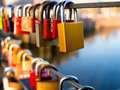 Locks love on the bridge railing Stock Photo