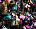 Locks of love in the gate of the house of romeo and juliet in ve many colored verona Stock Image