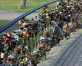 Locks of love tradition on weddings to put lock on the bridge a lock or padlock is a padlock which sweethearts lock to a bridge Stock Images