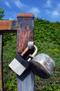 Locks two on an old rusting gate Stock Photography