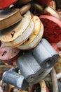 Locks variety of old padlocks in moscow Stock Photo