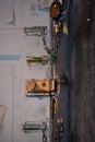 Locks on wooden door Royalty Free Stock Photo