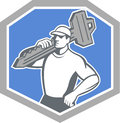 Locksmith carry key shield retro illustration of a standing front side view carrying on shoulder set inside crest on isolated Stock Image