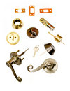 Locksmith deadbolt door locks installation parts Stock Photography