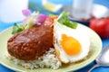 Loco moco is typical hawaiian food Stock Photo
