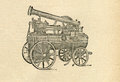 Locomobile diagram engraving on rough paper from ancient book Stock Image