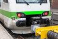 The locomotive car at the platform Royalty Free Stock Photo