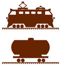 Locomotive and car vector the picture on a railway subject Royalty Free Stock Photos