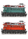 Locomotive drawing of old electric green and orange alternative Stock Photos