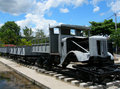 Locomotive near Bridge over River Kwai Royalty Free Stock Images