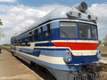 Locomotive on railway station Stock Photos