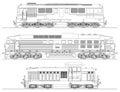 Locomotives drawing on white background Royalty Free Stock Photo