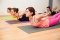 Locust pose in yoga class