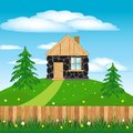 Lodge on hill illustration of the stone building green by summer Royalty Free Stock Image