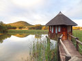Lodge in south africa on a lake Royalty Free Stock Photos