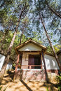 Lodging house at pang ung wide angle view of among the pine trees tong reservoir mae hong son province thailand Royalty Free Stock Image