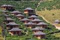 Lodging houses at ban rak thai among the tea plantation on the hill slope x loving village x mae hong son province thailand Royalty Free Stock Photos