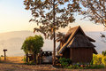 Lodging houses at mae chaem in the morning chiang mai province thailand Royalty Free Stock Photography
