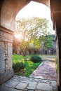 Lodi garden stone arch at sunrise in new delhi india Royalty Free Stock Photos