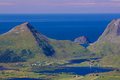 Lofoten from air aerial panorama of green islands in norway during summer Stock Photos