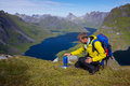 Lofoten mountaineering Stock Image