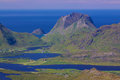 Lofoten peaks scenic panorama of green islands in norway during summer Stock Images