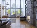 Loft apartment interior design with panoramic window interior