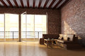 Loft interior with brick wall Stock Image