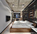 Loft style bedroom Royalty Free Stock Photo