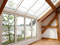 Loft Windows and Sky Lights Royalty Free Stock Photo
