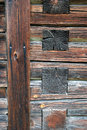 Log cabin background a closeup of the logs in a Stock Photography