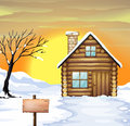Log cabin and dead tree illustration of a on a snowy field Royalty Free Stock Images