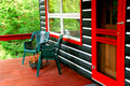 Log cabin deck Royalty Free Stock Image