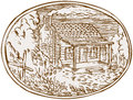 Log Cabin Farm House Oval Etching Royalty Free Stock Photo