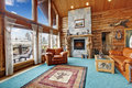 Log cabin living room Royalty Free Stock Photo