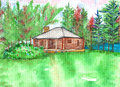 Log cabin watercolor in the woods with trees and a lake Royalty Free Stock Photo