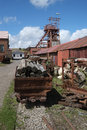 Log dram and winding gear july big pit blaenavon wales coal mine Royalty Free Stock Images