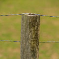 Log fence post and wire fencing Royalty Free Stock Photo