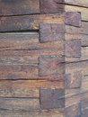 Log house detail knotted timber corner on a Royalty Free Stock Photos