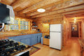 Log house kitchen Royalty Free Stock Photo