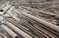 Log Jam of Tree Trunks Floting on a River Royalty Free Stock Photo