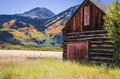 A log wooden barn at Twin Lakes Colorado area Royalty Free Stock Photo