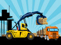 Logging forklift truck lorry Stock Photo
