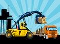 Logging forklift truck lorry