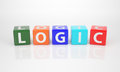 Logic out of multicolored letter dices the word Royalty Free Stock Image