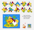 Logic puzzle game for children and adults. Find the missing piece of picture. Page for kids brain teaser book. IQ test. Play Royalty Free Stock Photo